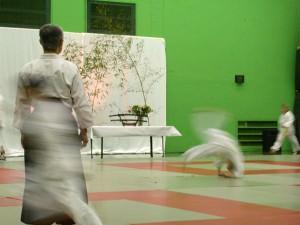 11.01.2003 | Les jeunes Aikidokas en pleine action. Démonstration de chutes avant (mae ukemi) sous la supervision de Maurice (de dos).